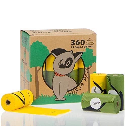 YORJA Hundekotbeutel biologisch abbaubare,tropfsichere Hundetüten,extra groß,dick und stark-24 Rollen(360 Stück) (Große Extra Vinyl)