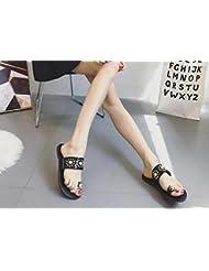 Zapatillas Cool Clip dedo del pie Perla Remaches Sandalias planas Zapatos casuales Mujer Verano Punta abierta Antideslizante Playa Zapatos Tamaño 35-39 de la UE , black , 35