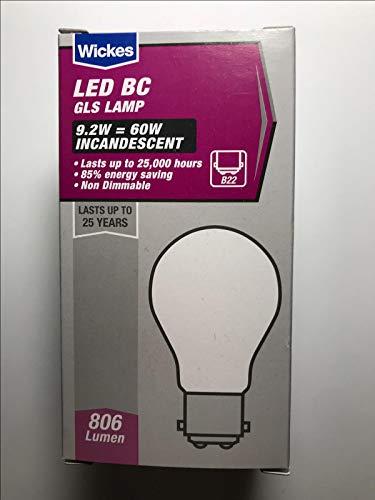 Wickes 5 x LED GLS Lampe 9,2W = 60W mattiert Glühbirne B22 Bajonettsockel 806lm