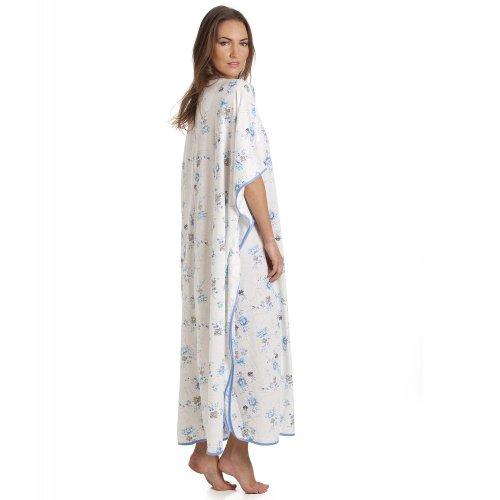 Camille Figura intera Blu stampa floreale bianco Kaftan Bianco
