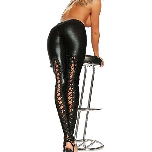 iEFiEL Sexy Gothic Damen Leggings Leggins Strumphhosen mit Schnürung Lack Leder im Wetlook schwarz (One Size, Schwarz)