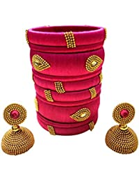 Goelx Festive Offer: Handcrafted Designer Silk Thread Bangles with Jhumka for Women in Different Colors