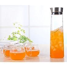 1L / 1.5L vaso de agua de la jarra de la jarra con tapa de acero inoxidable, fácil de verter, jarra del vidrio borosilicato té helado, agua caliente y fría de la jarra para agua, leche, jugo, té helado, limonada y bebidas con gas (1.5L)