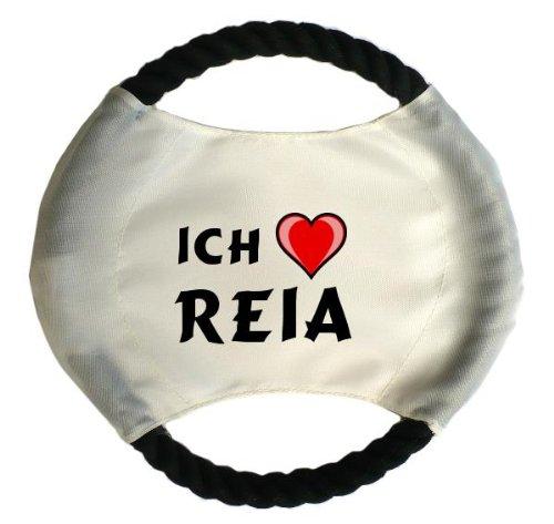 Personalisierter Hundefrisbee mit Aufschrift Ich liebe Reia (Vorname/Zuname/Spitzname)