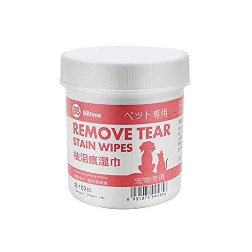 Haustiergewebe,Clacce Haustier-Katzen-Hund Entfernen Tränenmarkierungsartefakt Augen Reinigungs Haustier-nasses Papiertuch (rot, Freie Größe)