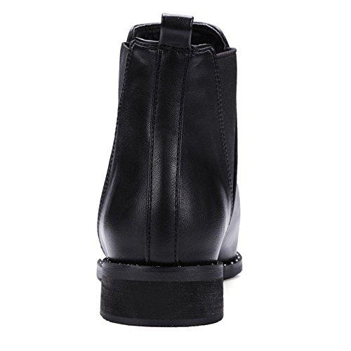 COOLCEPT Damen einfache elegante westliche flache Schuhe Datierung Knöchel  Stiefel Beiläufige Chelsea Stiefel Schwarz ... 4aa5ec13e9