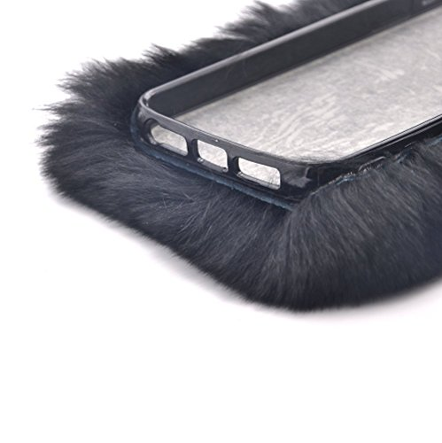 Cover per iPhone 6S Plus Diamante,Custodia per iPhone 6 Plus, Bonice Pelliccia Di Lusso Cristallo Bling [Serie peluche] ed Elegante Rex Rabbit Fur [carino] Custodia Inverno Calde Soffici Villi Eco-pel Lusso Fur - Cover - 11