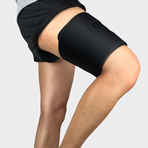 Demana Oberschenkelbandage Kompresse Oberschenkel Bandage verstellbar Für Ball und Ausdauersportarten, oberschenkelbandage muskelfaserriss Unisex Schwarz