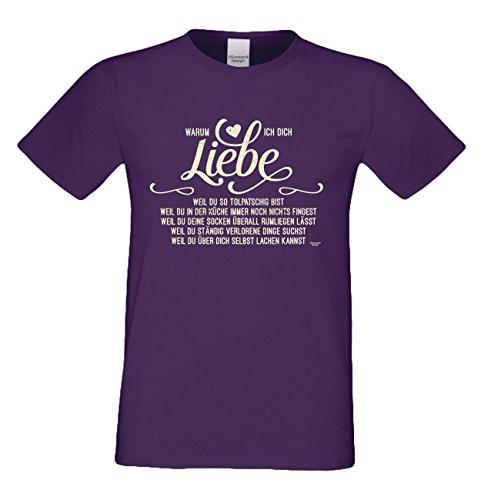 Herren kurzarm Sprüche T-Shirt :-: Geschenk-Idee-Valentinstag Motiv :-: Warum ich Dich liebe :-: Valentinstagsgeschenk für Mama Papa für Sie und Ihn :-: Farbe: lila Lila