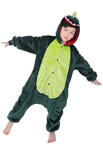 Yuson Jumpsuit Onesie Tier Mädchen Winter Flanell Einhorn Onesie Pyjamas Erwachsene Unisex Einteiler Cartoon Tier Kostüm Neuheit Weihnachten Cosplay Pyjamas (Dinosaurier, XL= 120-130 Height)