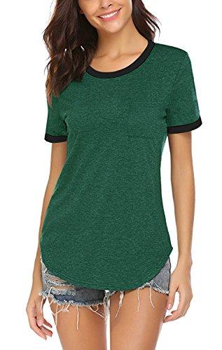 Yidarton Damen T Shirts Casual Kurzarm T Shirts Langarmshirt Rundhals Baumwolle Shirts Tops Tees