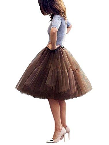 Omela Tüllrock Damen Vintage Tutu Rock Tanzrock Unterrock Petticoat Prinzessin Rock (Braun,70-110) (70's Rock Kostüme)