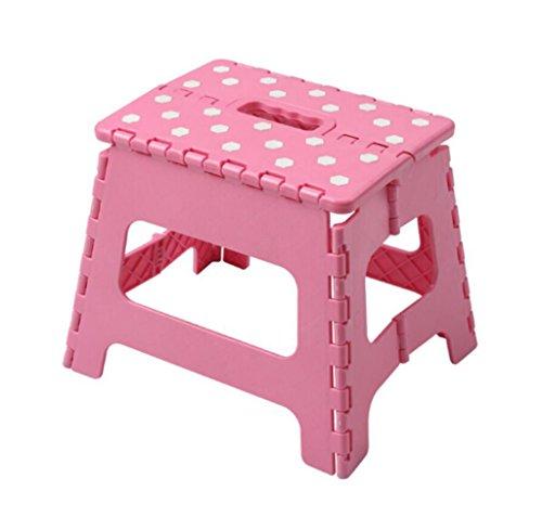 A-Fort Klapphocker Square Portable Kunststoff kleine Bank Esstisch Hocker Picknick Hocker Outdoor-Angeln Hocker rosa (Farbe : Pink)
