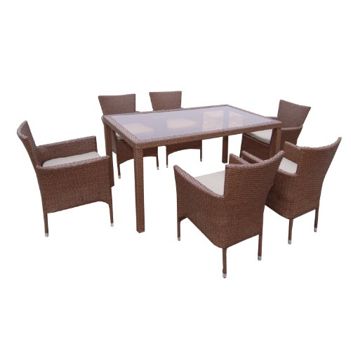 Ambientehome Polyrattan Sitzgruppe Essgruppe Sessel stapelbar Meluco, Tisch, ca. 150 x 90 cm, 7-teiliges Set