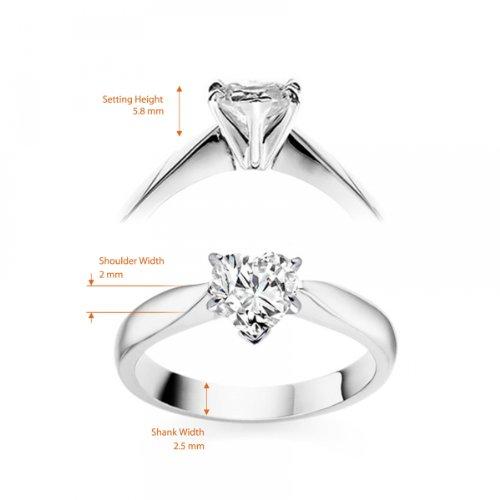 Diamond Manufacturers, Damen, Verlobungsring mit 0.25 Karat E/VVS1 feinem und zertifiziertem Herzdiamant in 18k Weißgold, Gr. 41 - 6