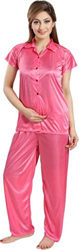 Fabme Women's Satin Night Suit Nighty ( Shirt and Pyjama ) - Color Pink