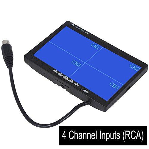 CoCar 7 Zoll 4-Splitscreen Monitor Quad Multiplexer Bildschirm TFT LCD 12-24V für Auto LKW PKW...