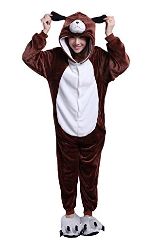tliche Anzug Flanell Pyjamas Trickfilm Jumpsuit Tier Cartoon Fasching Halloween Kostüm Sleepsuit Party Cosplay Pyjama Schlafanzug Braun Hund X-Large ()