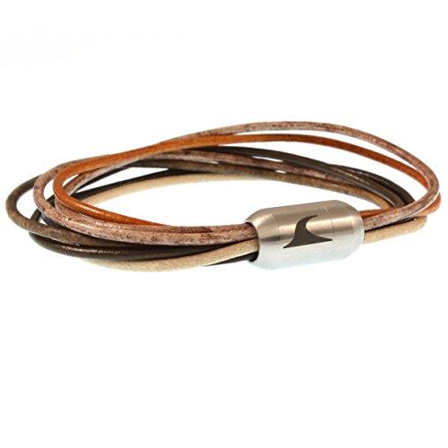 WAVEPIRATE® Echt Leder-Armband XX-FEM Beach 17 cm Edelstahl-Verschluss in Geschenk-Box Surfer Damen