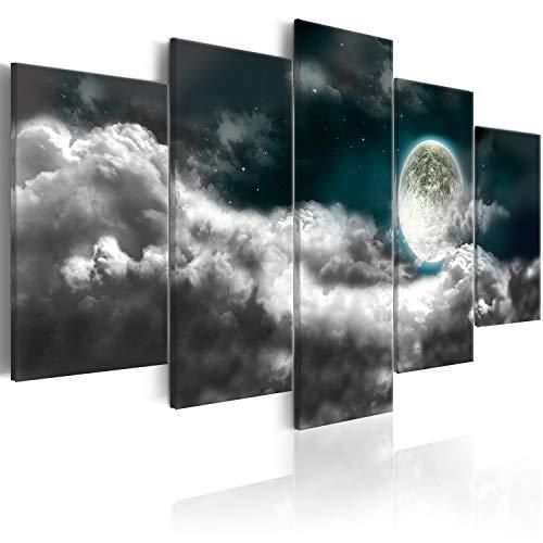 murando – Cuadros Impresos en Lienzo Que Brillan en la Oscuridad 200x100 cm - 5 Piezas - Premium Lienzo de Tejido no Tejido XXL - Cielo Luna b-C-0192-ag-m