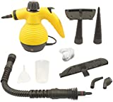 Handheld Multi-purpose Pressurized Steam Cleaner (1000 Watt) for stain removal, curtains, crevasses, bed bug control, car seats and more.