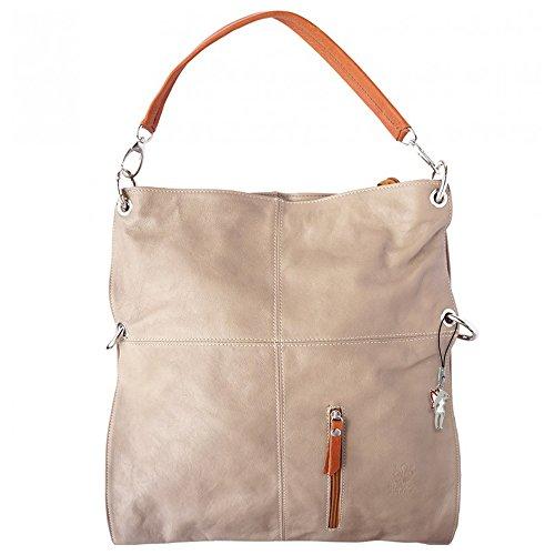 Tan Leder Hobo (Umhängetasche Hobo Bag 2in1 Damen Handtasche Leder braun/beige Crossover Schultertasche OTF102C)