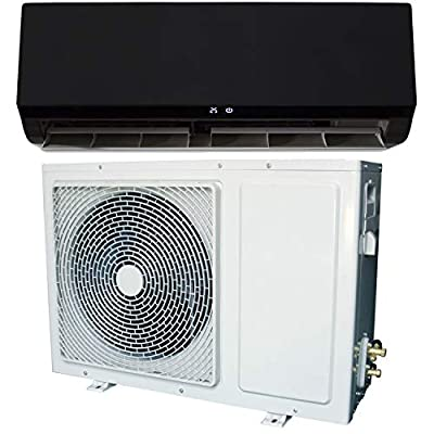 12000 BTU Black Smart Wall Mounted Split Air Conditioner with Heat Pump Pipe kit and 5 Years Warranty
