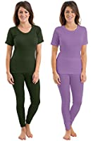 Set Of 2 Colours Womens/Ladies Thermal Underwear Set Short Sleeve Vest & Pants, Emerald & Lilac