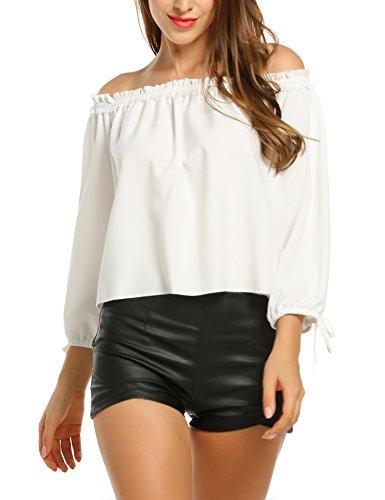 Parabler Damen Schulterfrei Bluse Elegantes Oberteil Langarm mit Schleife an Ärmeln Trägerlos Shirt Tunika Sexy Oversize Top Lässige Locker T-Shirt Weiß XL