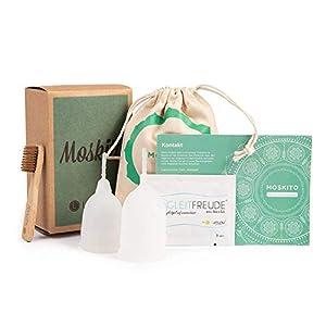 Deluxe Menstruationstassen MOSKITO im 2er-Set, Menstruationskappen aus 100% Silikon, wiederverwendbare & umweltschonende Tampon-Alternative inkl. Natur Reinigungsbürste & Aufbewahrungsbeutel, von Venize