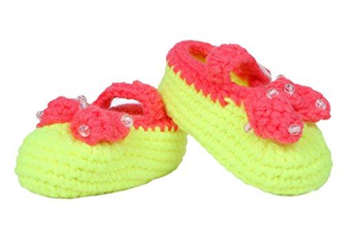 Smile YKK 1 Paar Baby Unisex Strickschuh Strick Schuh süße Muster One Size Schleife Gelb Gelb
