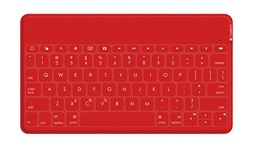 Logitech Keys-To-Go - Teclado para Apple iPad 2 (Indicadores LED, Bluetooth, USB), rojo - Teclado QWERTY Italiano
