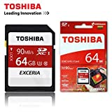 #3: Toshiba Exceria 64GB SDXC UHS-1 Class 3 Memory Card Ideal For Full HD Video & 4K Video Recording - Read Speed 90mb/s For DSLR's,Digital Cameras & Camcorders