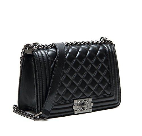 s-lady-design-fashion-frauen-karriere-ol-schwarz-handtasche-kariert-kette-tasche-umhaengetasche-mode
