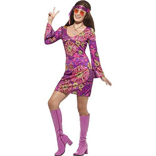 Smiffys Damen Kostüm 60er Jahre Hippie Blumenkind Karneval Fasching Gr.XL