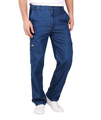Herren Cargo Jeans Hose Gummizug_(8011-DKBLU-XL) (Cargo Jean Multi Pocket)