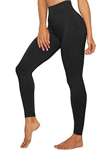 INSTINNCT Damen Yoga Lange Leggings Slim Fit Fitnesshose Sporthosen #4 Klassische Stil - Schwarz S