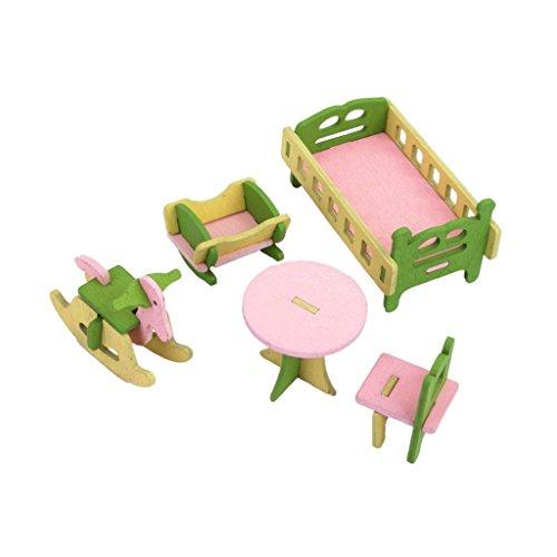 Nalmatoionme creativi casa delle bambole in legno Set di mobili per camera dei bambini