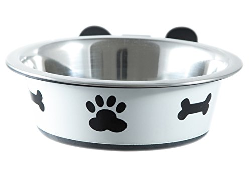Dog-Bowl-Holder-Complete-with-Bowl-Medium-White
