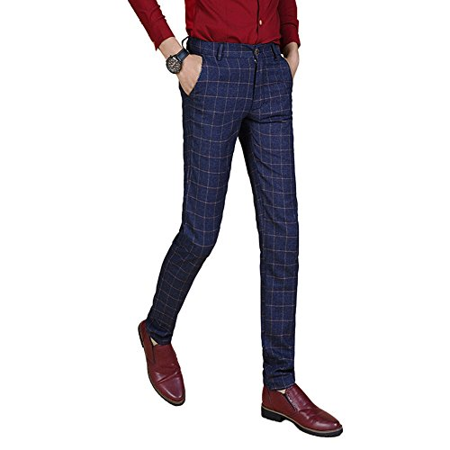 Sunshey Men's Plaid Business Suit Trousers Slim Fit Casual Pants