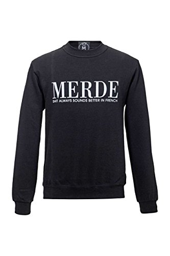 Jute Beutel Herren Pullover Sweatshirt MERDE, Farbe: Schwarz Schwarz