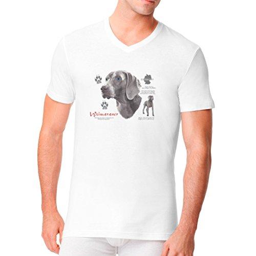 Im-Shirt - Hunde Shirt: Weimaraner cooles Fun Men V-Neck - verschiedene Farben Weiß