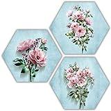 SAF Set of 3 Hexagon Flower MDF Board UV Textured Painting 17 Inch X 17 Inch SANFHXS30620