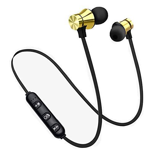 Balock Schuhe Drahtloser Kopfhörer,Bluetooth 4.2 Stereo-Kopfhörer-Headset, Drahtloser Magnetischer In-Ear-Ohrhörer Kopfhörer Mit Mikrofon (Gold)