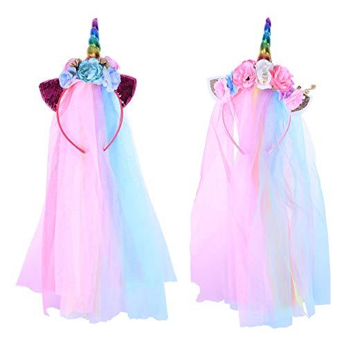 Lurrose 2 stücke Einhorn Horn Stirnband Mit Schleier Glitter Ohr Blume Haarband Kostüm Für Kinder Halloween