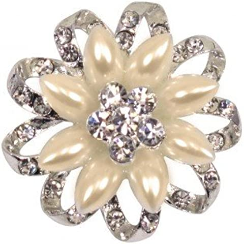 Diamante/Perla Spilla Floreale