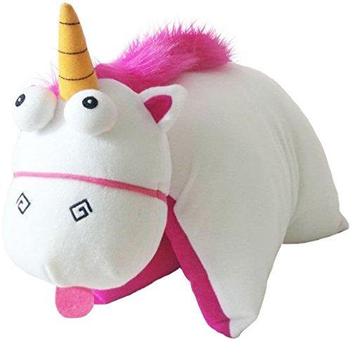 Despicable Me Unicorn 3D Character Fluffy Pillow Minion Einhorn Kuschel - Reisekissen für Kinder weiss - pink 35cm x 45cm