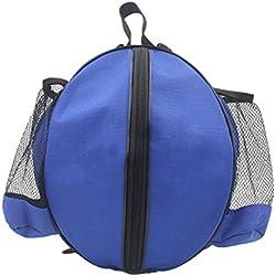 a-nam profesional bolsa de almacenamiento para baloncesto, voleibol, fútbol pelotas, bolsa de hombro soporte para organizar con dos bolsillos laterales de malla, color azul, tamaño Dia. 26cm-28cm