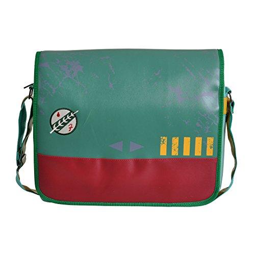 Star Wars Tasche Boba Fett Mandalorianer Logo Messenger Bag 39x31x9,5cm grün