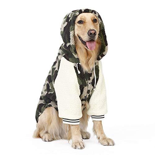 Haustier Jacke Dicke Weste Mantel Retro Design Welpen Gemütliche Outfits Kleidung Winter Outwear Große Hund Camouflage Lamm Hoodie (größe : 4XL) ()